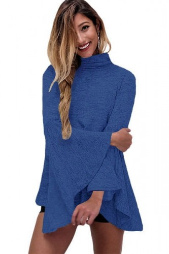 Blue-Flared-Bell-Sleeve-Knit-Blouse-LC25940-5-1.jpg