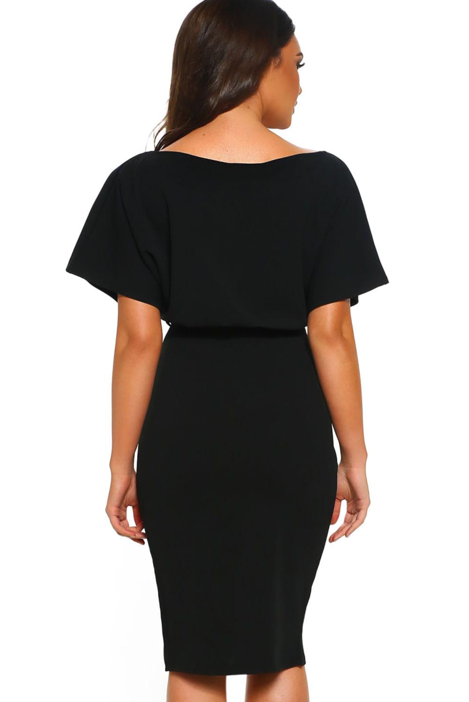 Elegancka suknia z łódkowym dekoltem, rozcięcie M i L